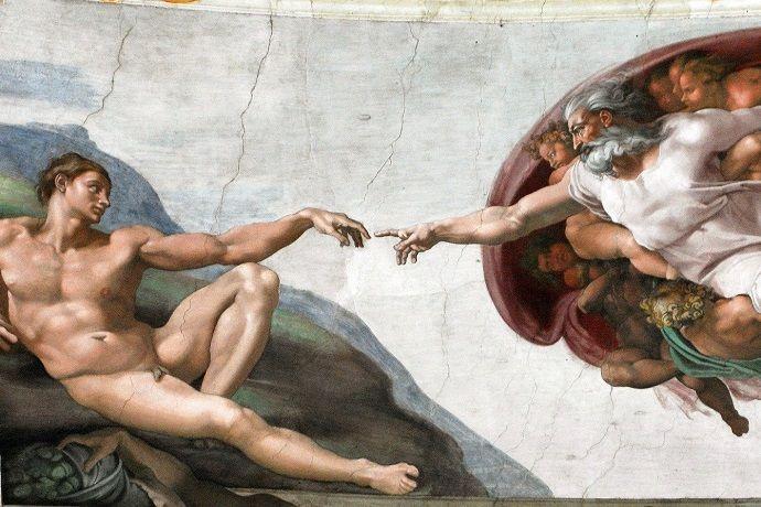 Pintura Creación del hombre. Capilla Sixtina